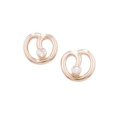 Designer Rose Gold Diamond Spiral Stud Earrings httpwww