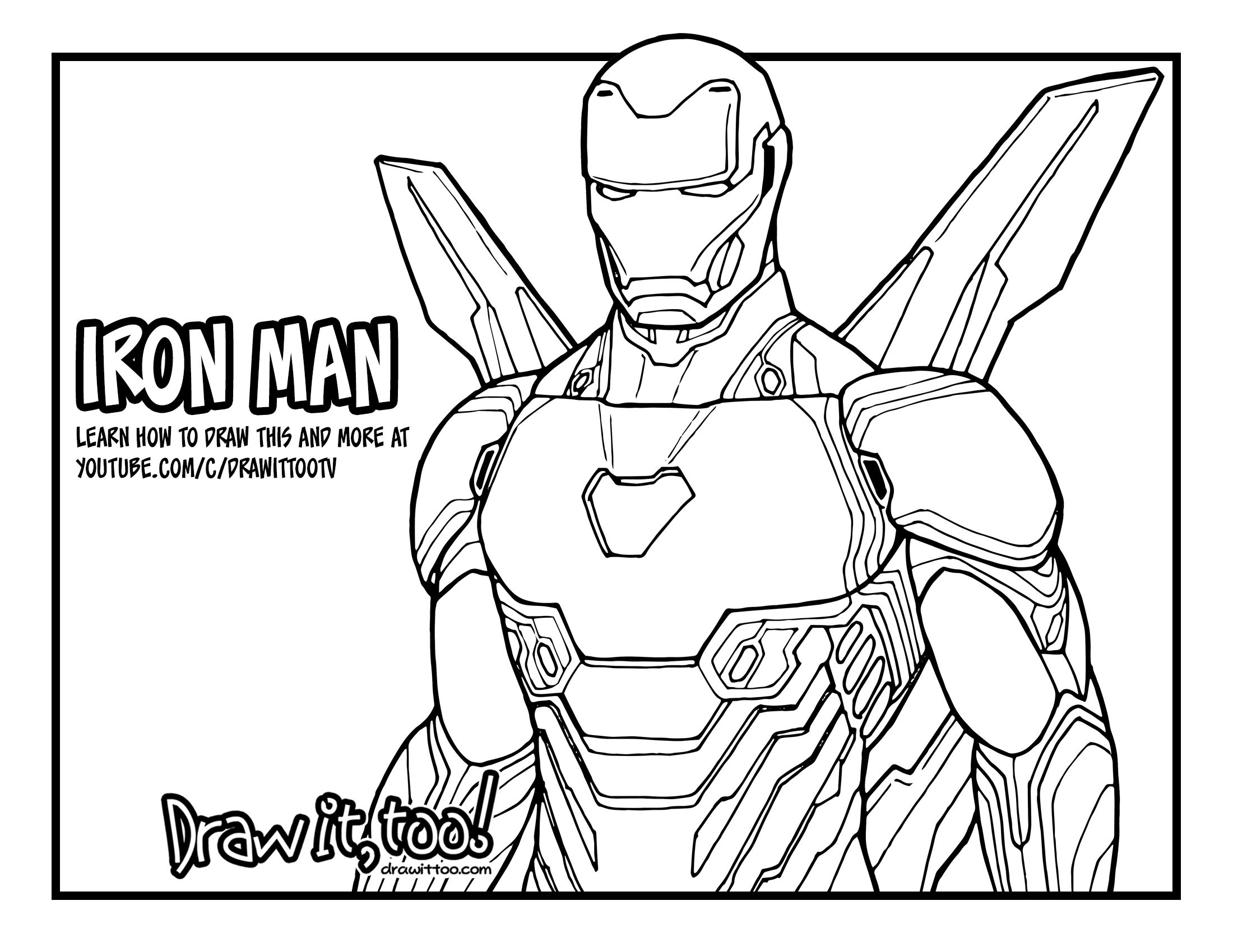 How To Draw Iron Man Avengers Infinity War Drawing Tutorial Draw It Too Avengers Coloring Pages Avengers Coloring Superhero Coloring Pages