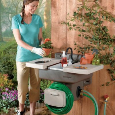 Outdoor Garden Sink How Cool Is This No Extra Plumbing Required Great For The Kids To Wash Hands Outside Connects To Any Outs Home Decor Ideas Garde