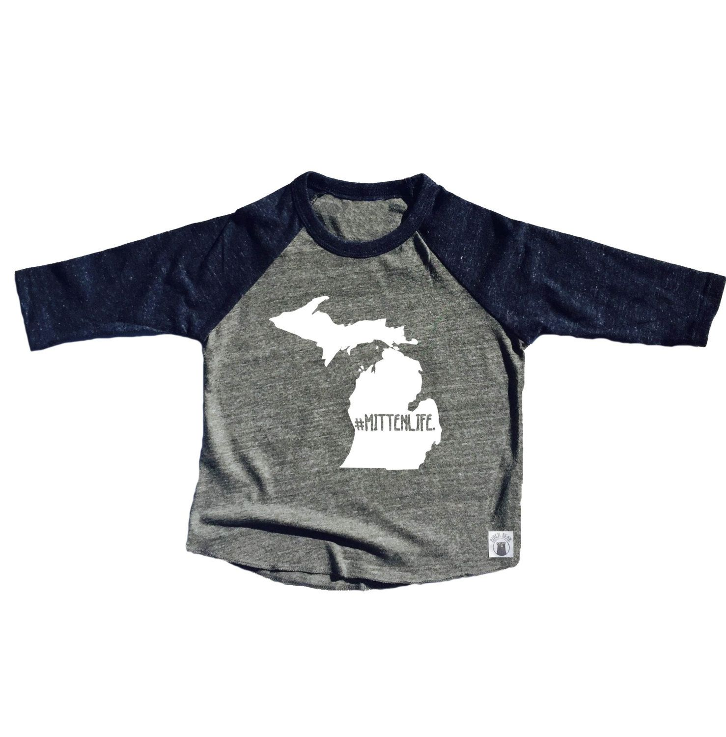 Toddler Baseball Tee Triblend Michigan Mitten Life Michigan Shirt