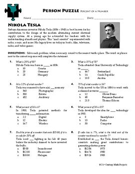 Person Puzzle  Percent Of A Number  Nikola Tesla Worksheet