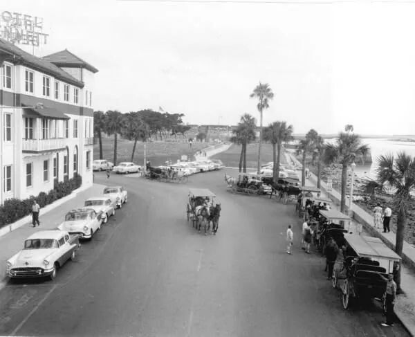 1956 Bayfront Bennet Hotel On Left St Augustine Florida Old
