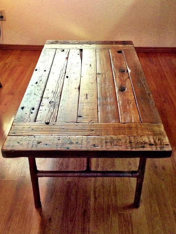 Reclaimed Wood Coffee Table With Copper Legs By Reclaimedwoodgoods Reclaimed Wood