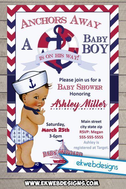 Little Sailor Boy Baby Shower Invitation Custom Digital File Invites