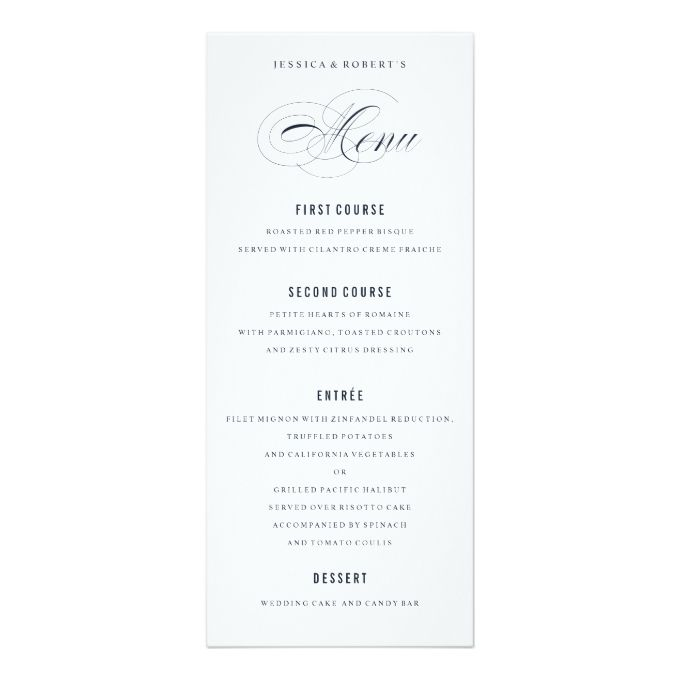 navy blue elegant wedding formal dinner menu wedding menu