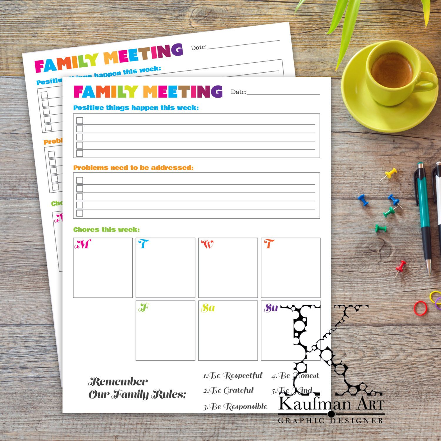 Family Meeting Amp Weekly Chores By Kaufmanart On Etsy