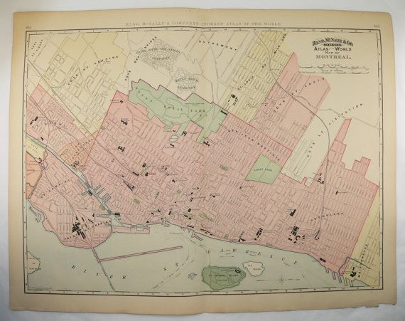Antique Montreal Map Canada City Vintage Large Original Old 1896 Christmas Gift for Home Gift Under 100 Black Friday Sale Cyber Monday Sale by OldMapsandPrints