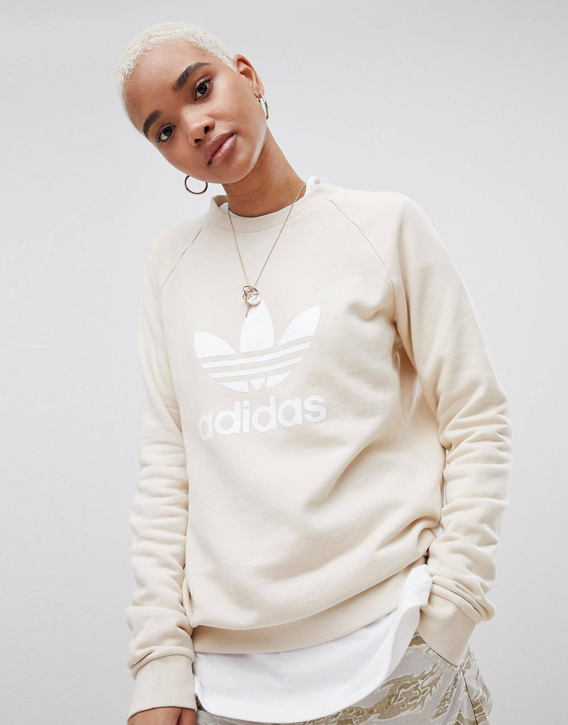 adidas Originals Trefoil Oversized Sweatshirt In Cream