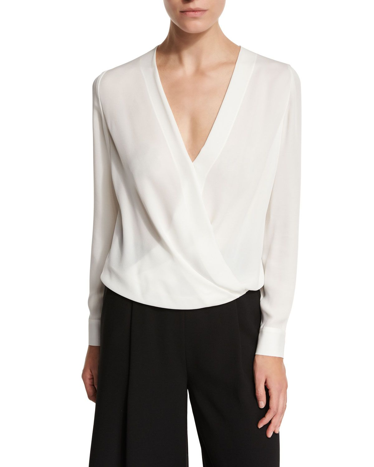 White Wrap Blouse Long Sleeve Anlis