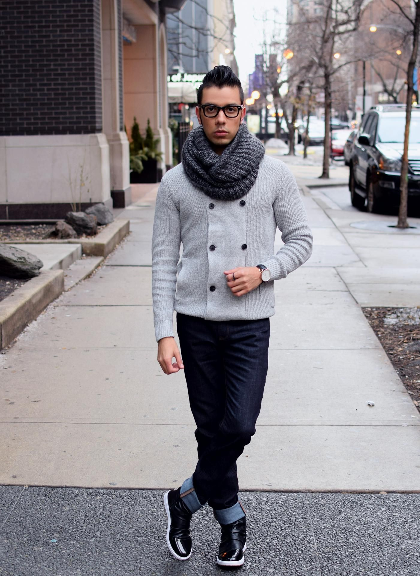 Men's Grey Double Breasted Cardigan, Navy Jeans, Black Leather ...