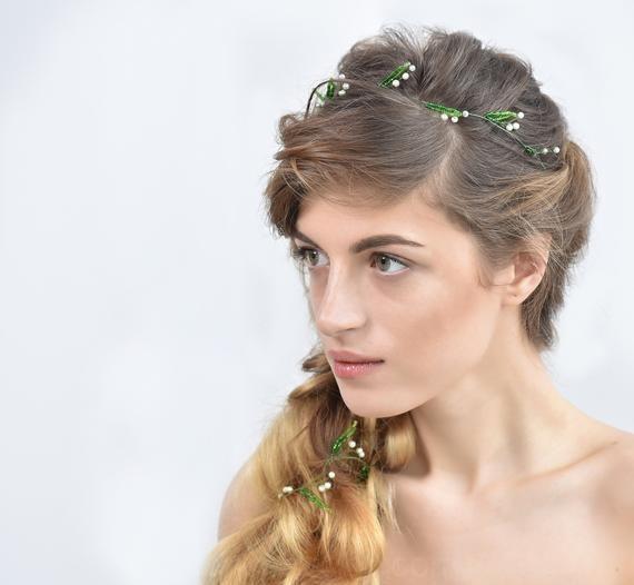 Photo of Mughetto capelli capelli floreale vite verde capelli pezzo capelli ghirlanda di fiori naturale matrimonio prom capelli gioielli regalo di san valentino