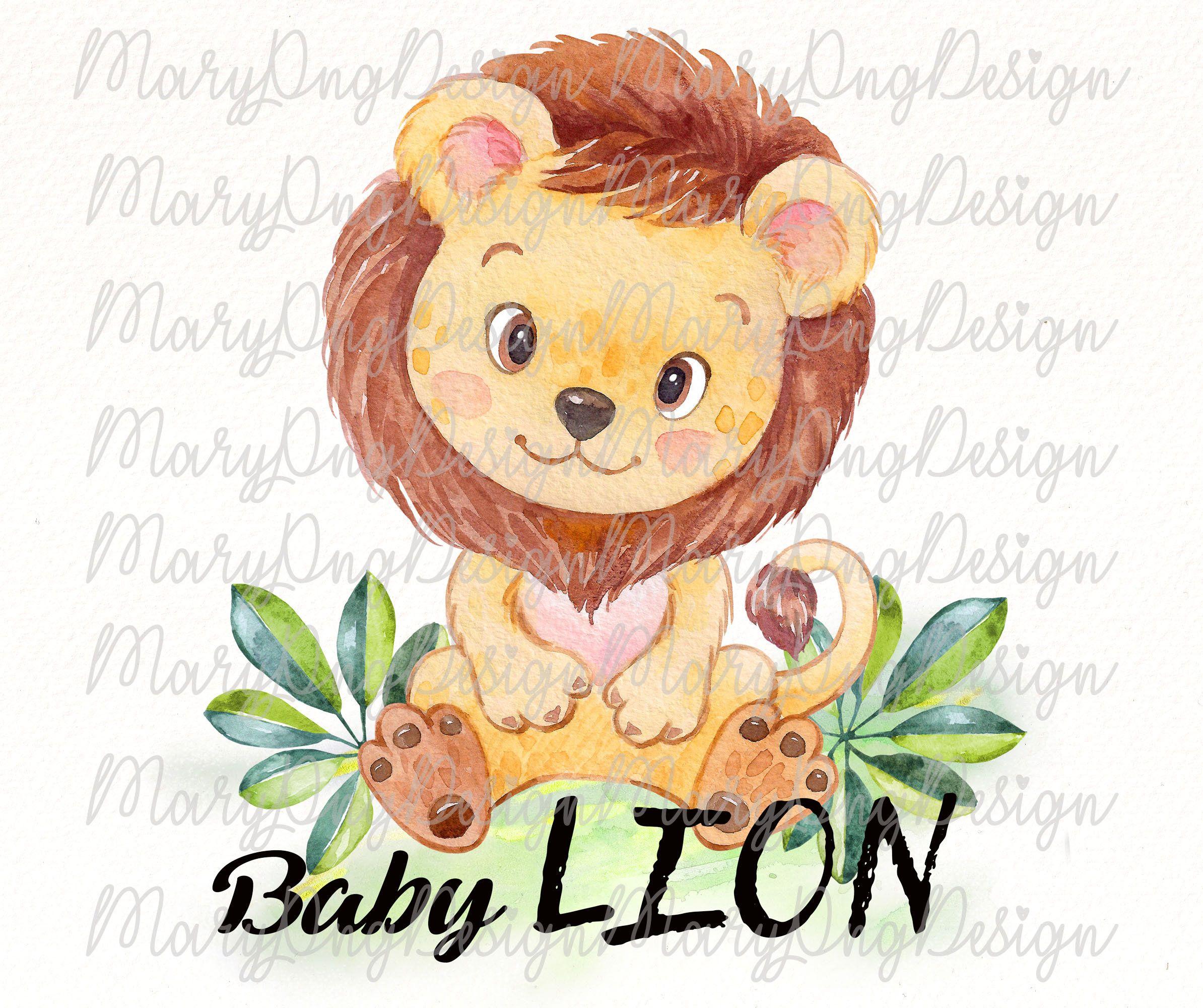 Sublimation Design Watercolor Baby Lion Png Clipart Instant Etsy Floral Illustrations Clip Art Lion Illustration
