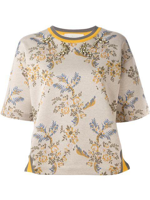 STELLA MCCARTNEY embellished floral print jersey. #stellamccartney #cloth #jersey