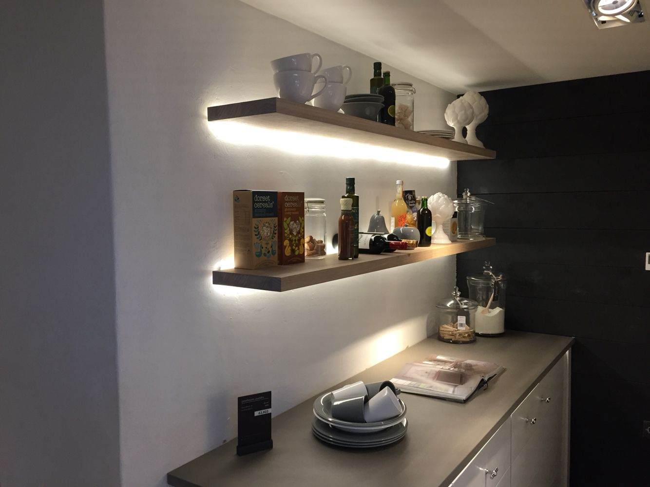 Beautiful Floating Shelves, With Strip LED Lighting On Exposed Brick Wall. Can We  Leave These