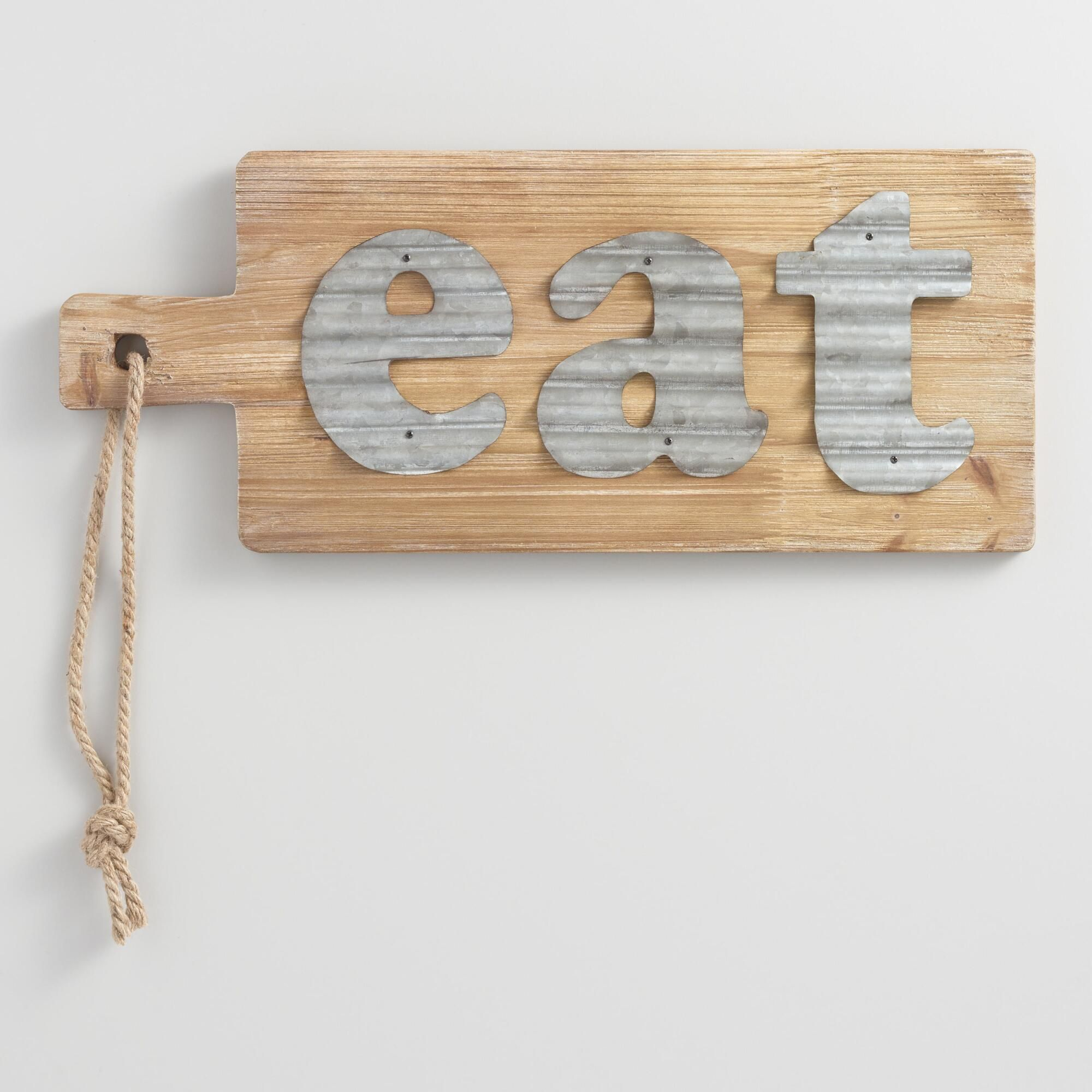 Eat Metal and Wood Cutting Board Wall Decor | Galvanized sheet ...