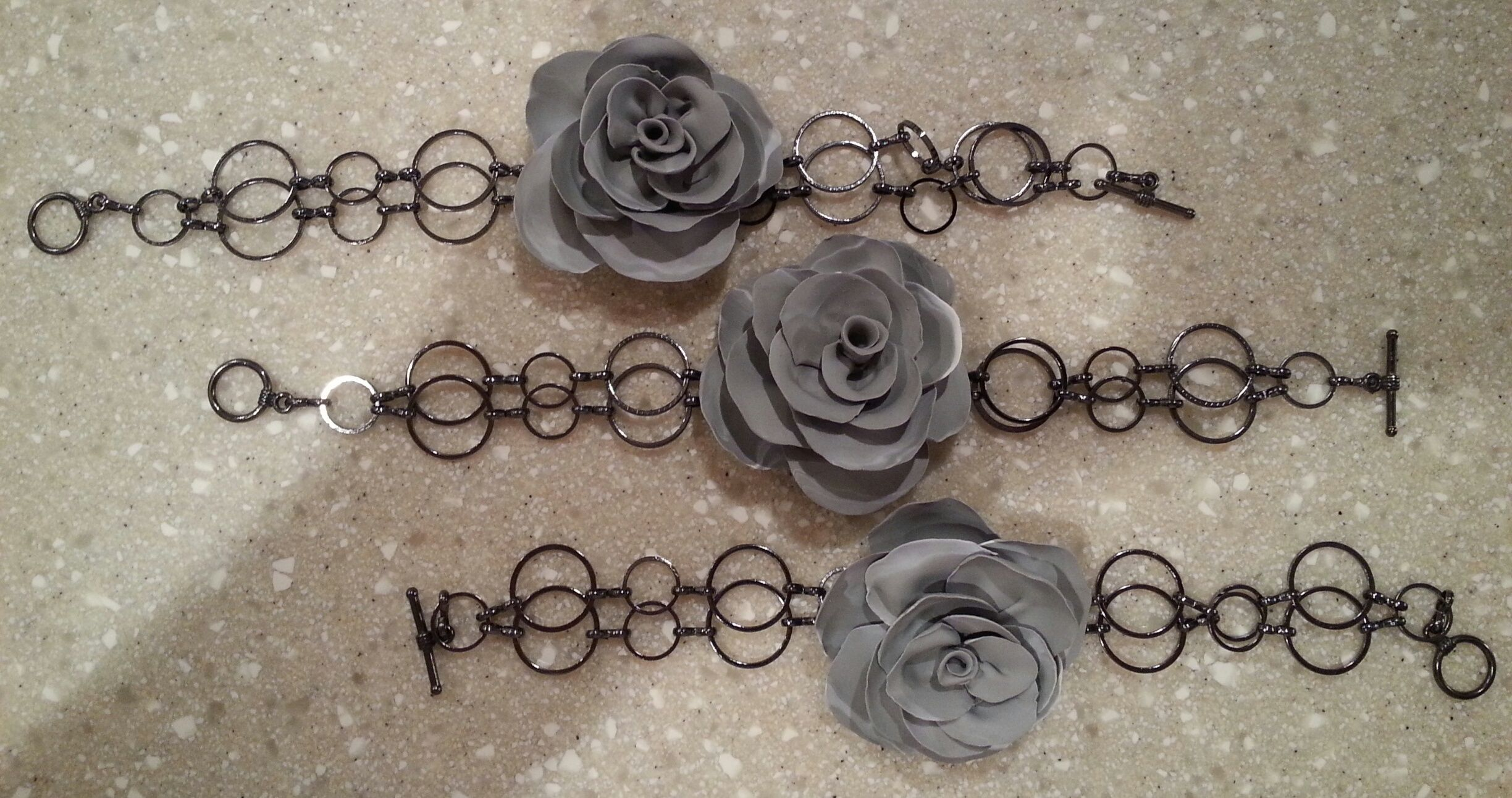 Handmade polymer clay rose bracelets! By Diane Louise SOLD!
