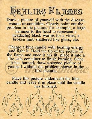 HEALING FLAMES, Book of Shadows Spell Page, Wicca