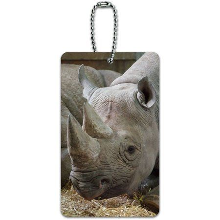 African Rhino Rhinoceros Endangered Black White ID Tag Luggage Card for Suitcase or Carry-On, Multicolor