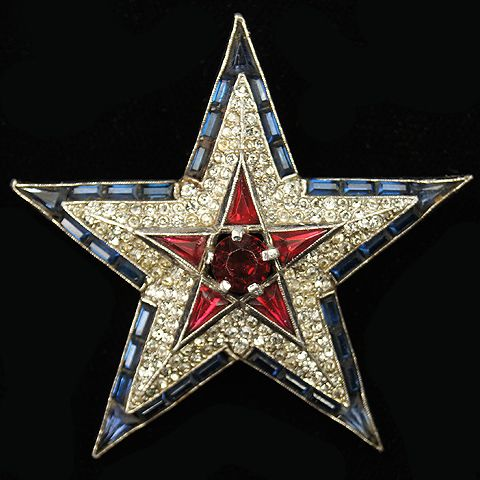 Trifari 'Alfred Philippe' WW2 US Patriotic Red White and Blue Star Pin