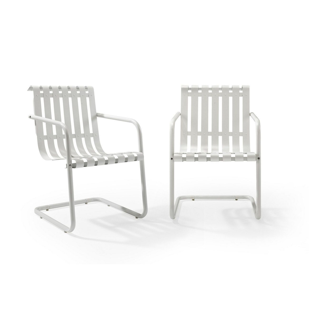 Crosley Furniture Gracie Patio Accent Chair Set Of 2 I: Gracie Stainless Steel Chair In White (Set Of 2)