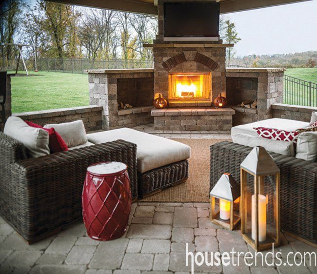 Spectacular outdoor living spaces is part of Covered patio design, Patio fireplace, Patio landscaping, Outdoor living space, Patio seating, Fireplace seating - Outdoor living spaces from Housetrends  Over 40 incredible photos of outdoor living spaces provide the ideas and inspiration you'll need to tackle that project you've always wanted for your home