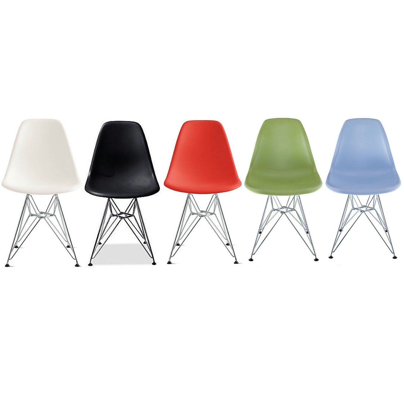 Molded plastic and metal chairs - 2xhome Set Of Five 5 Multiple Color Eames Style Side Chair Chromed