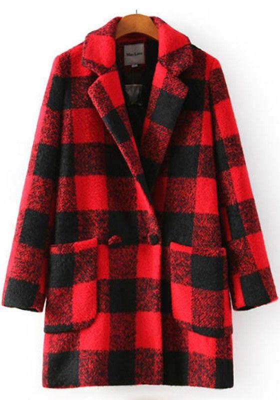 Red Plaid Pockets Wool Coat