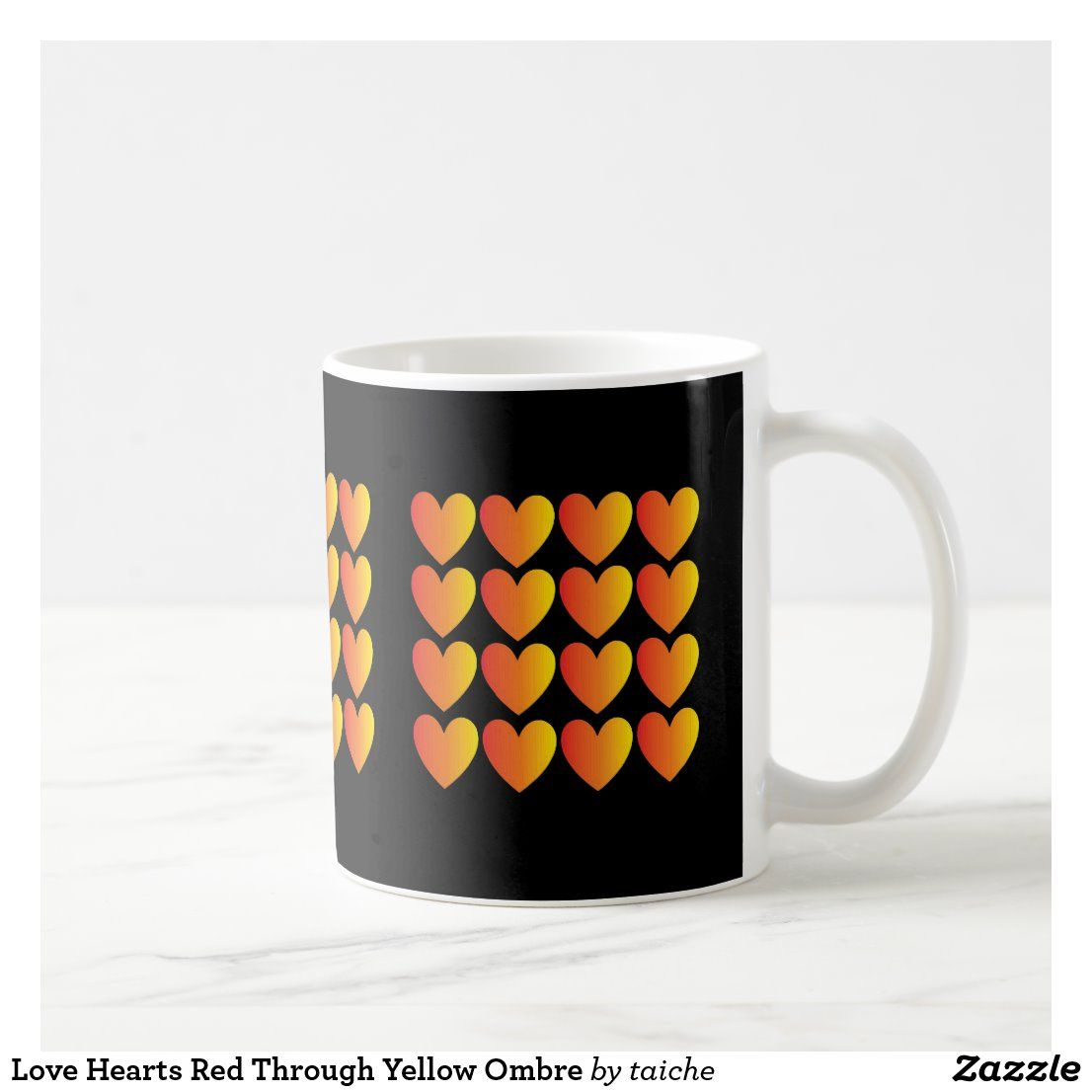 Love hearts red through yellow ombre coffee mug zazzle