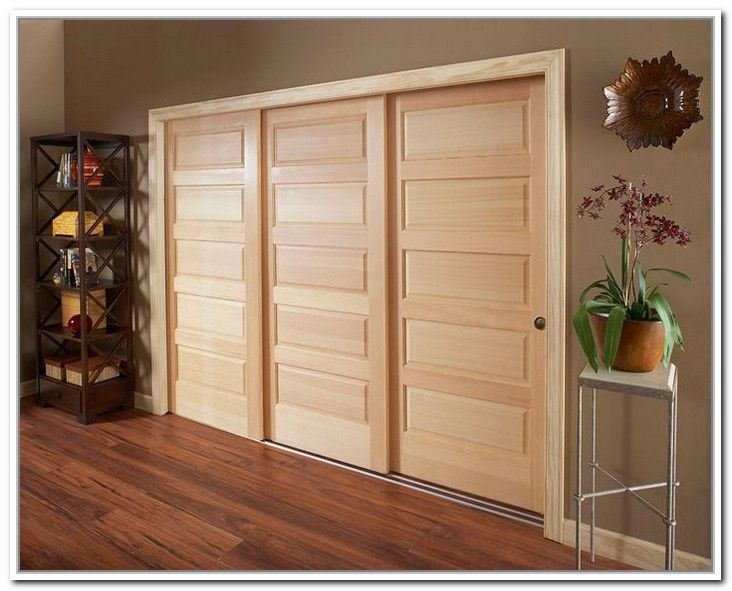 Wood 3 Panel Sliding Closet Doors Bedroom Closet Doors Sliding