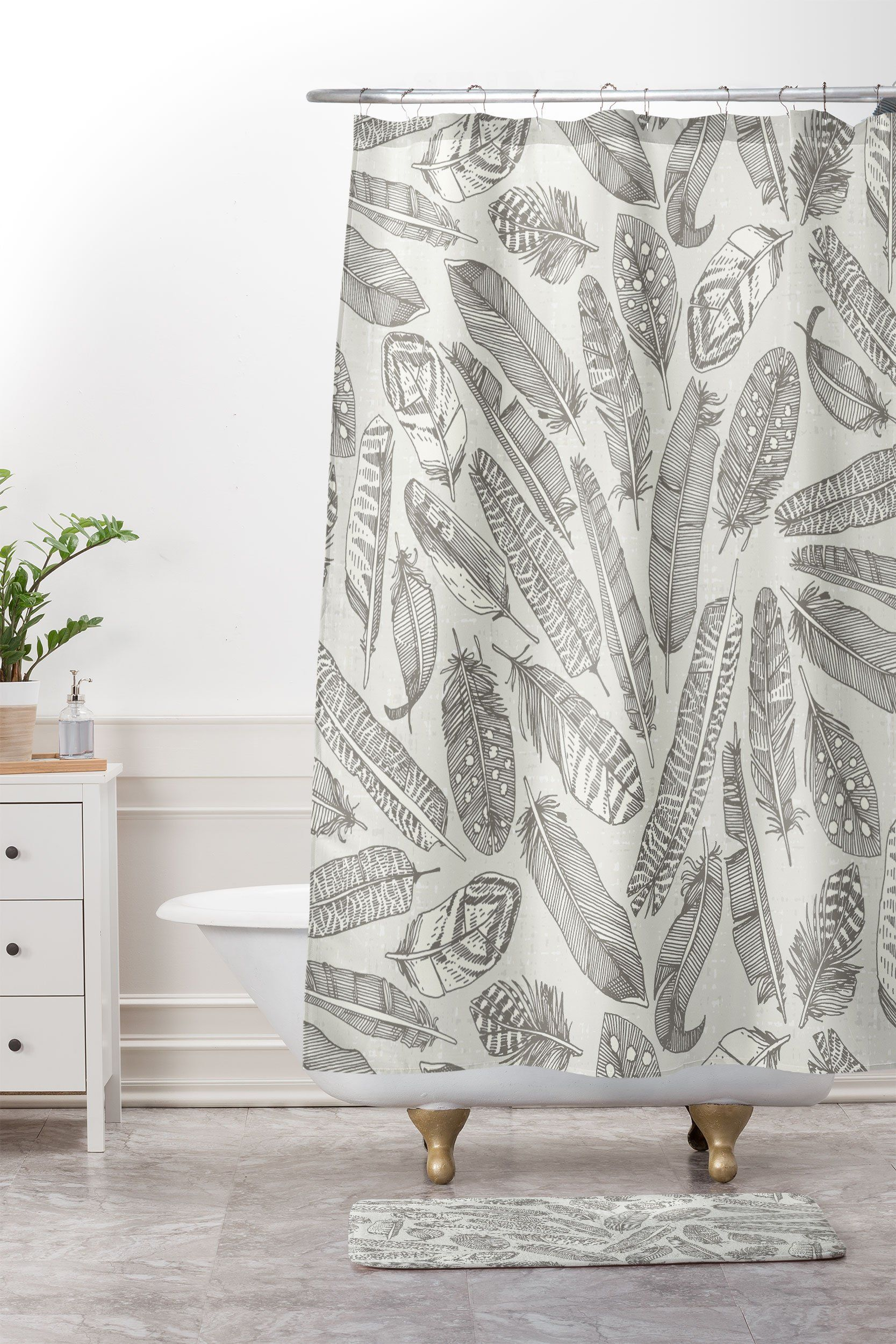 Scattered Feathers Natural Shower Curtain And Mat Sharon Turner Feathers Denydesigns Sharonturner Nature Illustration Decor Bathroom Sh Curtains Natural Showers Interior