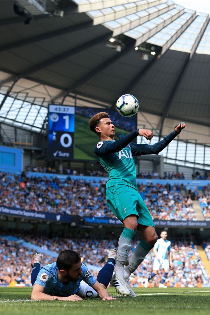 Most Great Manchester United Wallpapers Stadium MANCHESTER, ENGLAND - APRIL 20: Dele Alli of Spurs in action during the Premier League match between Manchester City and Tottenham Hotspur at the Etihad Stadium on April 20, 2019 in Manchester, United Kingdom. (Photo by Simon Stacpoole/Offside/Getty Images)