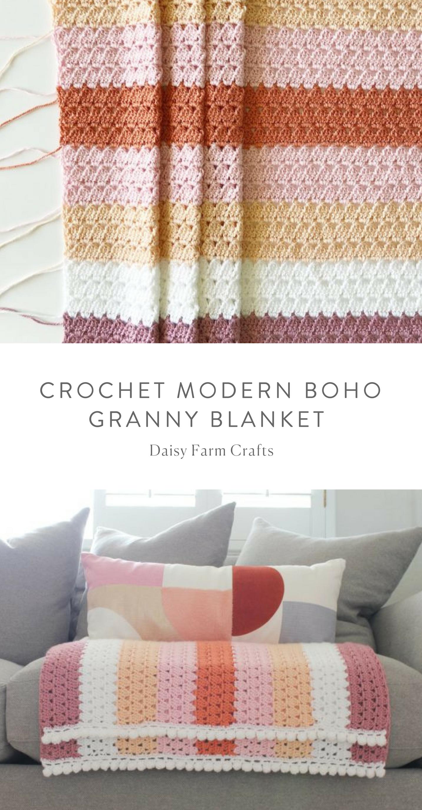 Free Pattern - Crochet Modern Boho Granny Blanket - Daisy Farm ...