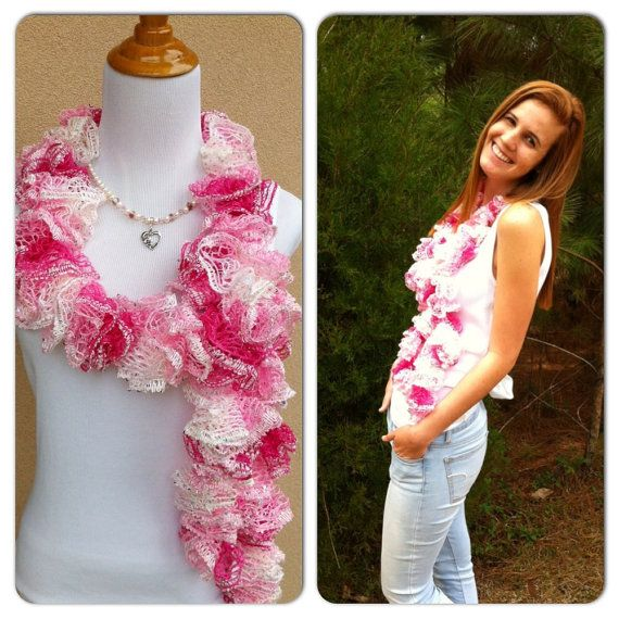 Handmade Crocheted Fashion Ruffle Scarf Neon Pink