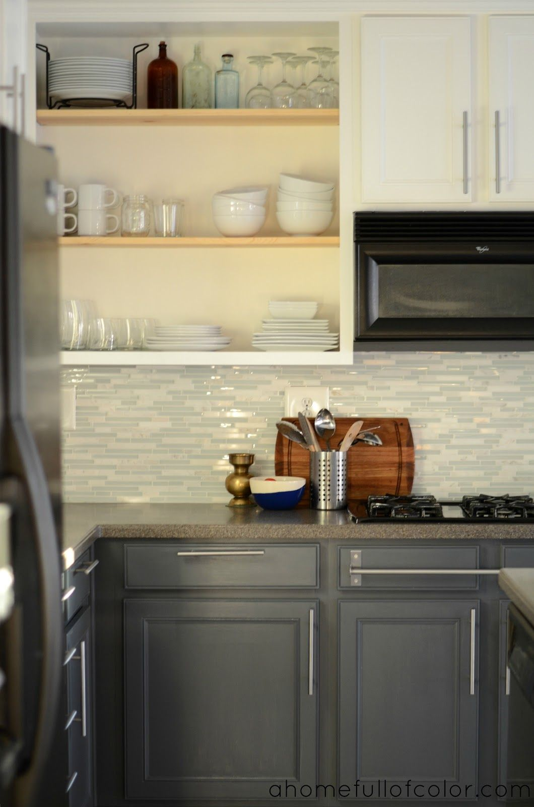 A Home Full Of Color Two Toned White Upper Cabinets Gray