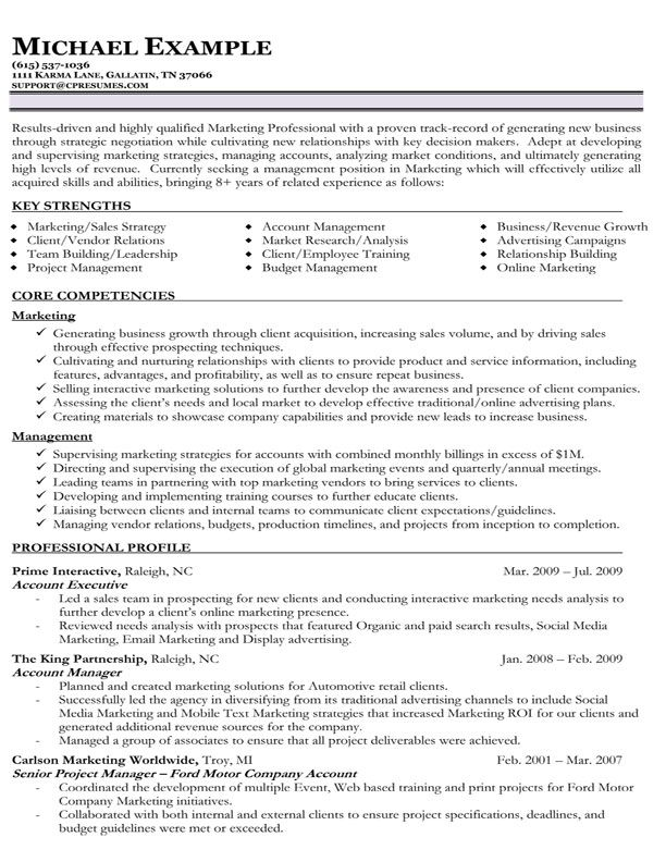 functional resume format example - Google Search cool stuff - strategic account manager resume