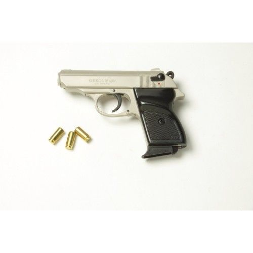 This blank firing pistol has a groovy satin finish, a