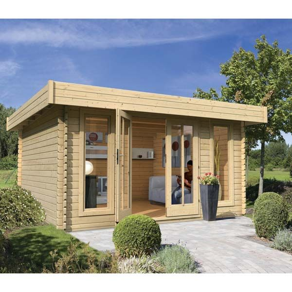 Abri à toit plat 13,69m² an bois massif brut 28mm Aramir - Karibu - maison bois en kit toit plat