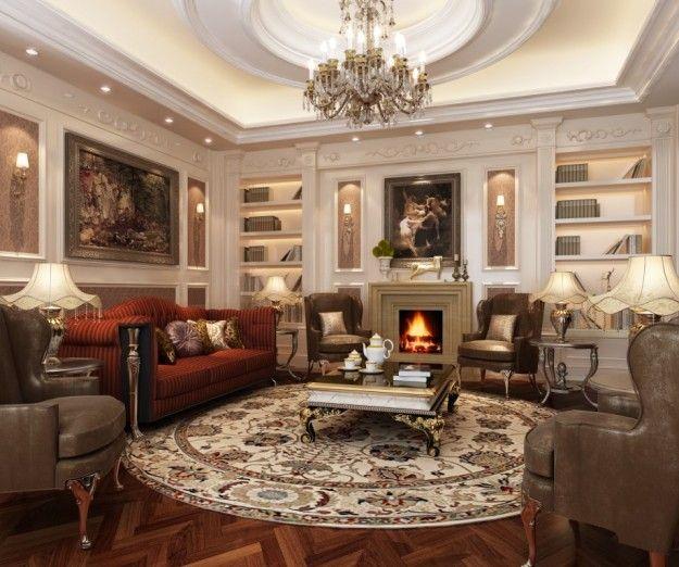 Arredamento classico | Soggiorno di lusso, Lampadari da ...