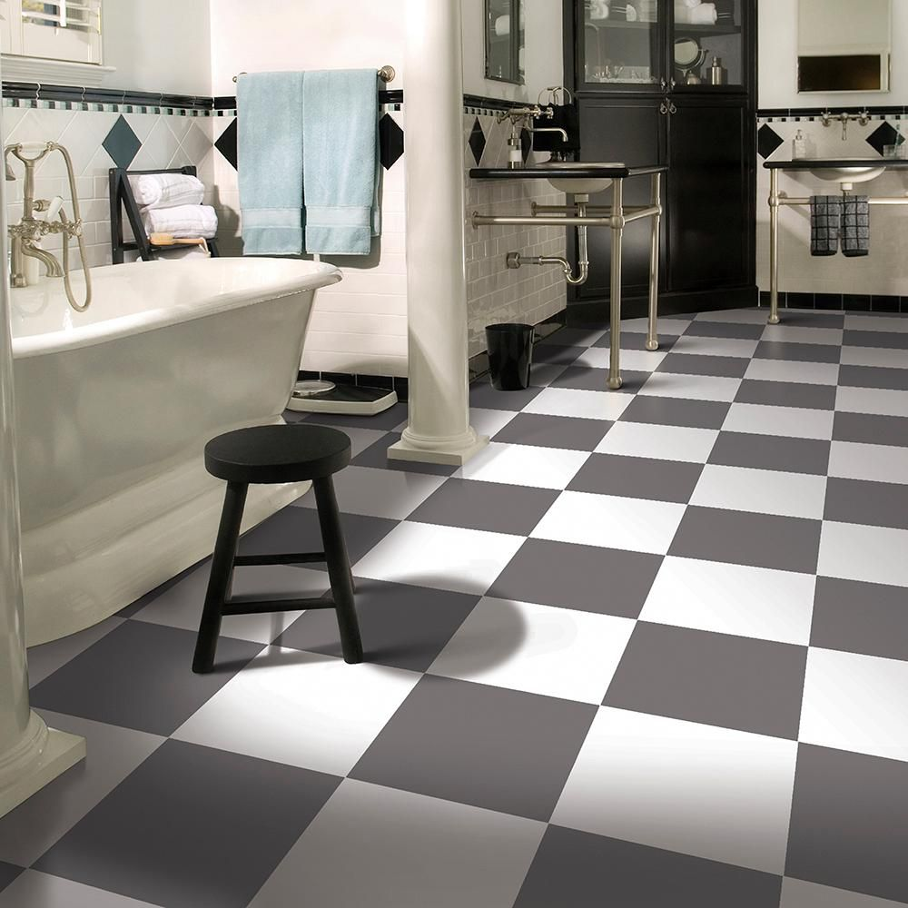 Ivc Checkered Grey Tile 13 2 Ft Wide X