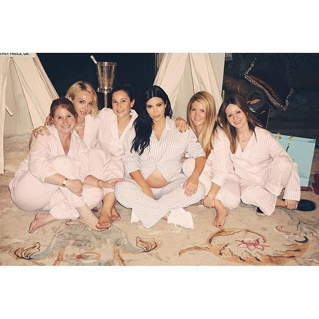 f9f3ba76f7 Kim Kardashian West s shower for baby Saint featured a camp theme and  mandatory pajama dress code. The guest of honor and others wore sky ...
