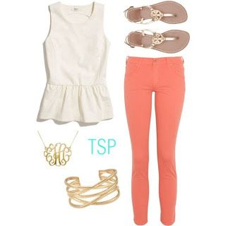 Coral And White Simple And Polished Look For School Find Similar Accessories For Only 5 00 From Www Luckymountainjewels C Preppy Outfits Fashion Preppy Style