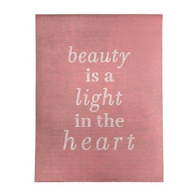 East Urban Home Handwritten Beauty Inspirational Quote Poly Chenille Rug | Wayfair