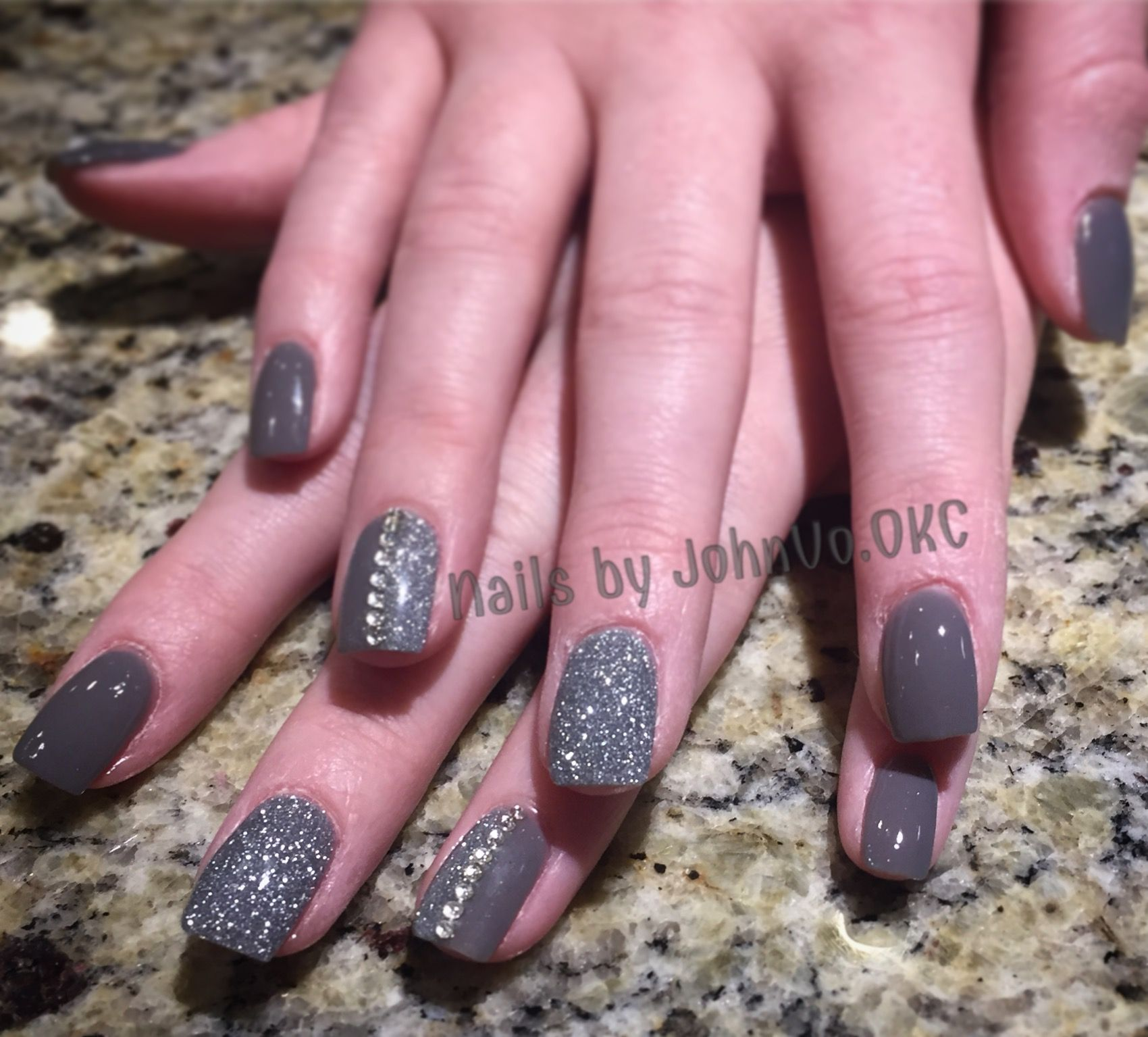 Gray and glitter Dip Powder nails with rhinestones Dipping powder ...