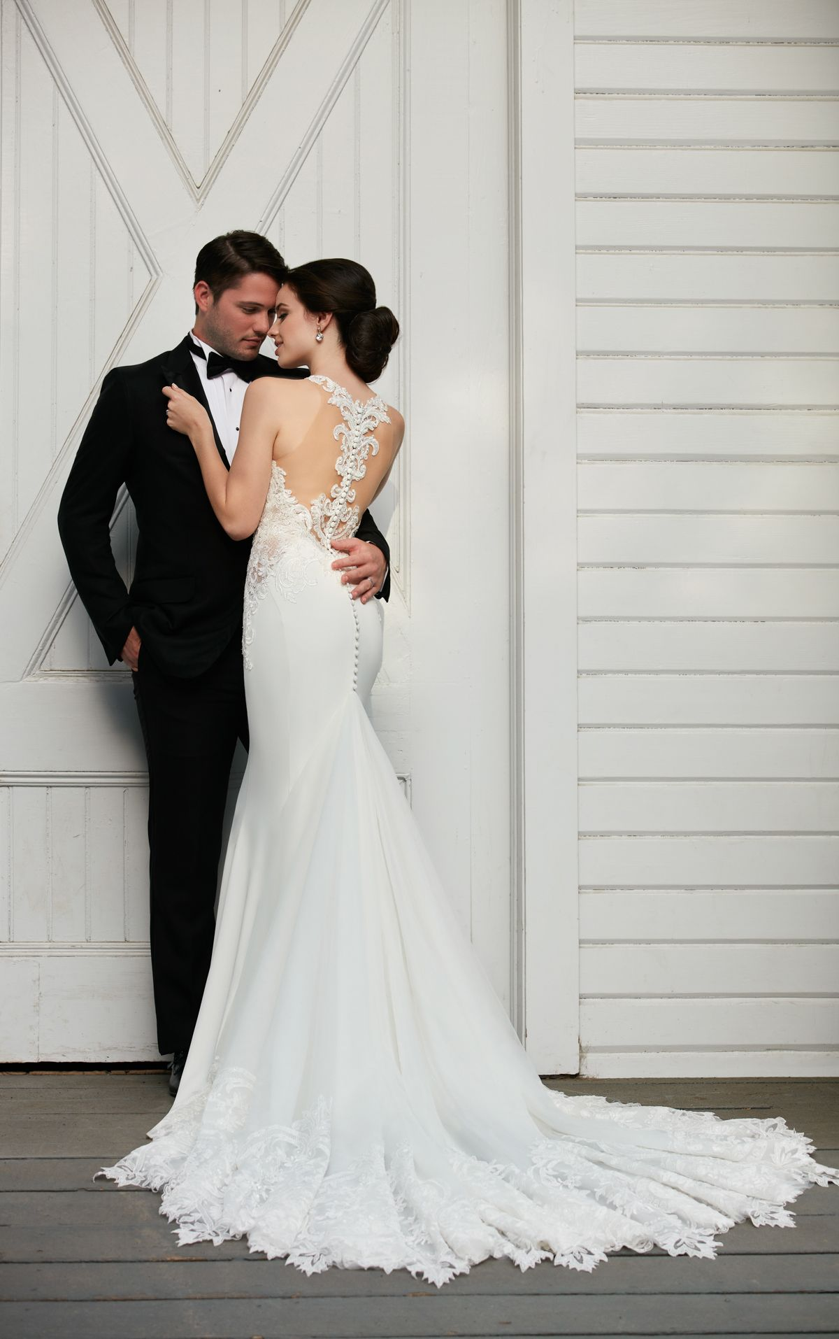 Illusion Racerback Wedding Dress with High Neck | Wedding dress and ...