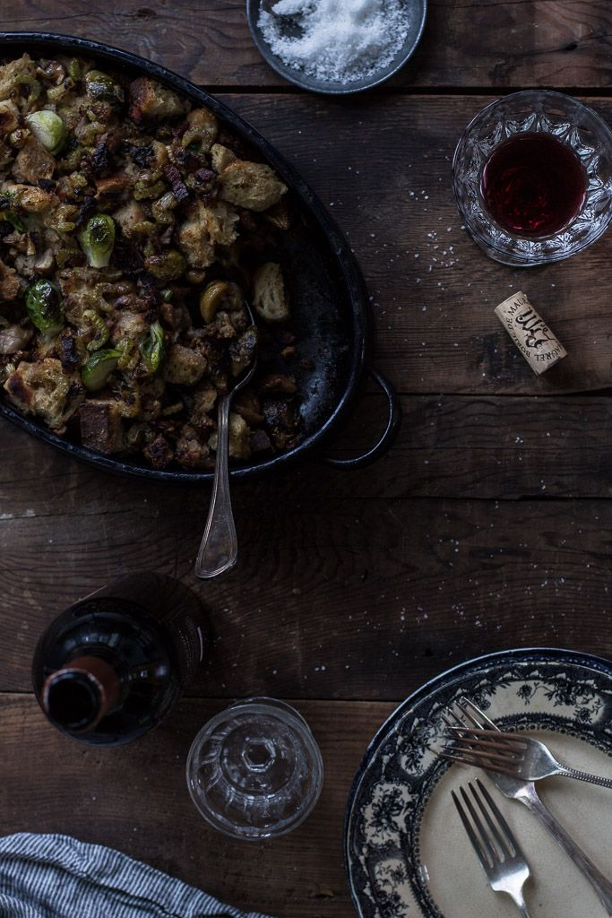 Brussels Sprout Stuffing with Bacon and Chestnuts // Milly's Kitchen