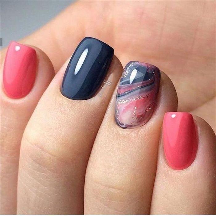 Pink Black Nail Polish Nail Design Ideas Pink Black Gold Marble Nail In 2020 Nail Colors Pretty Nail Colors Blue Nails