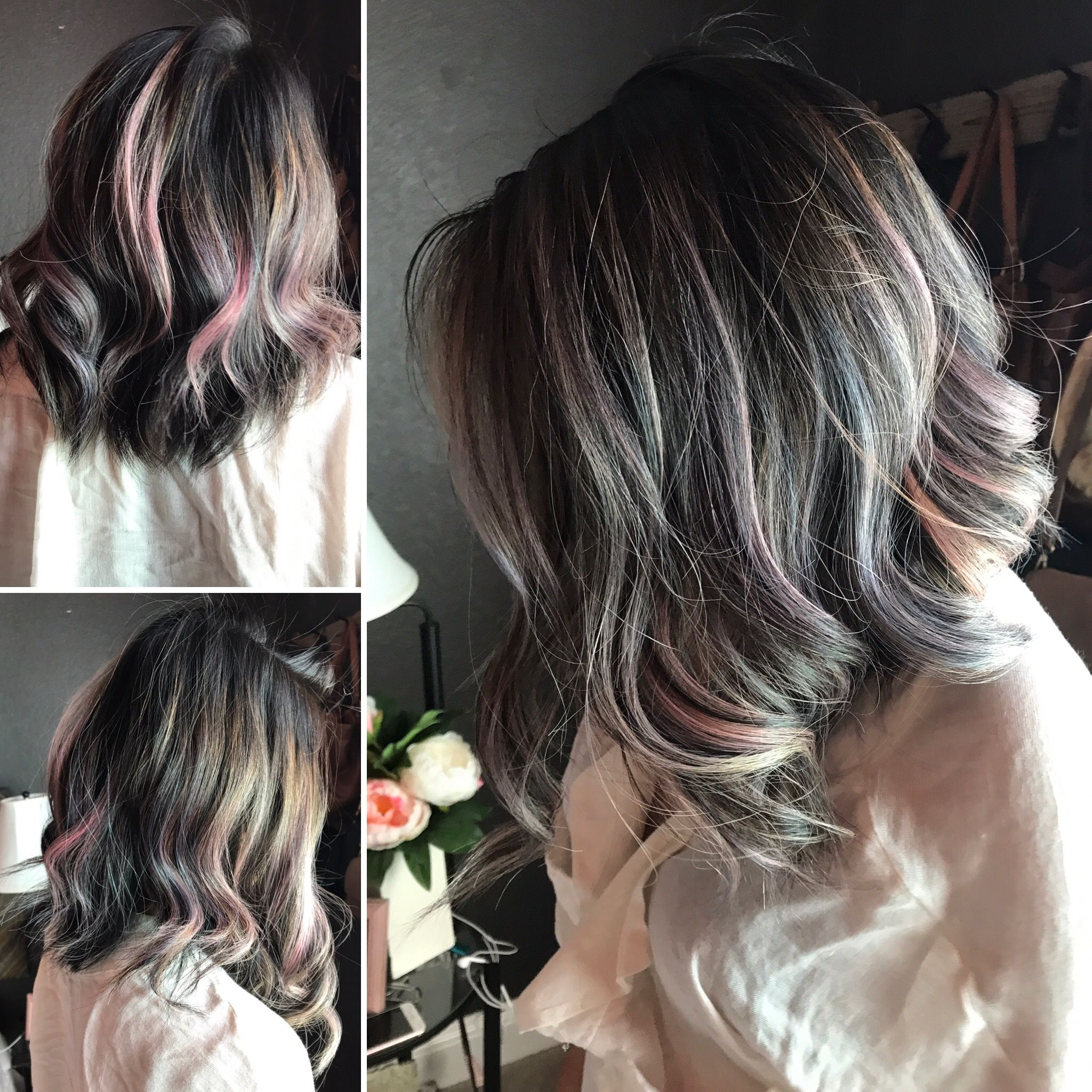 L Oreal Colorista Blue Hair And Soft Pink Applied As Highlights
