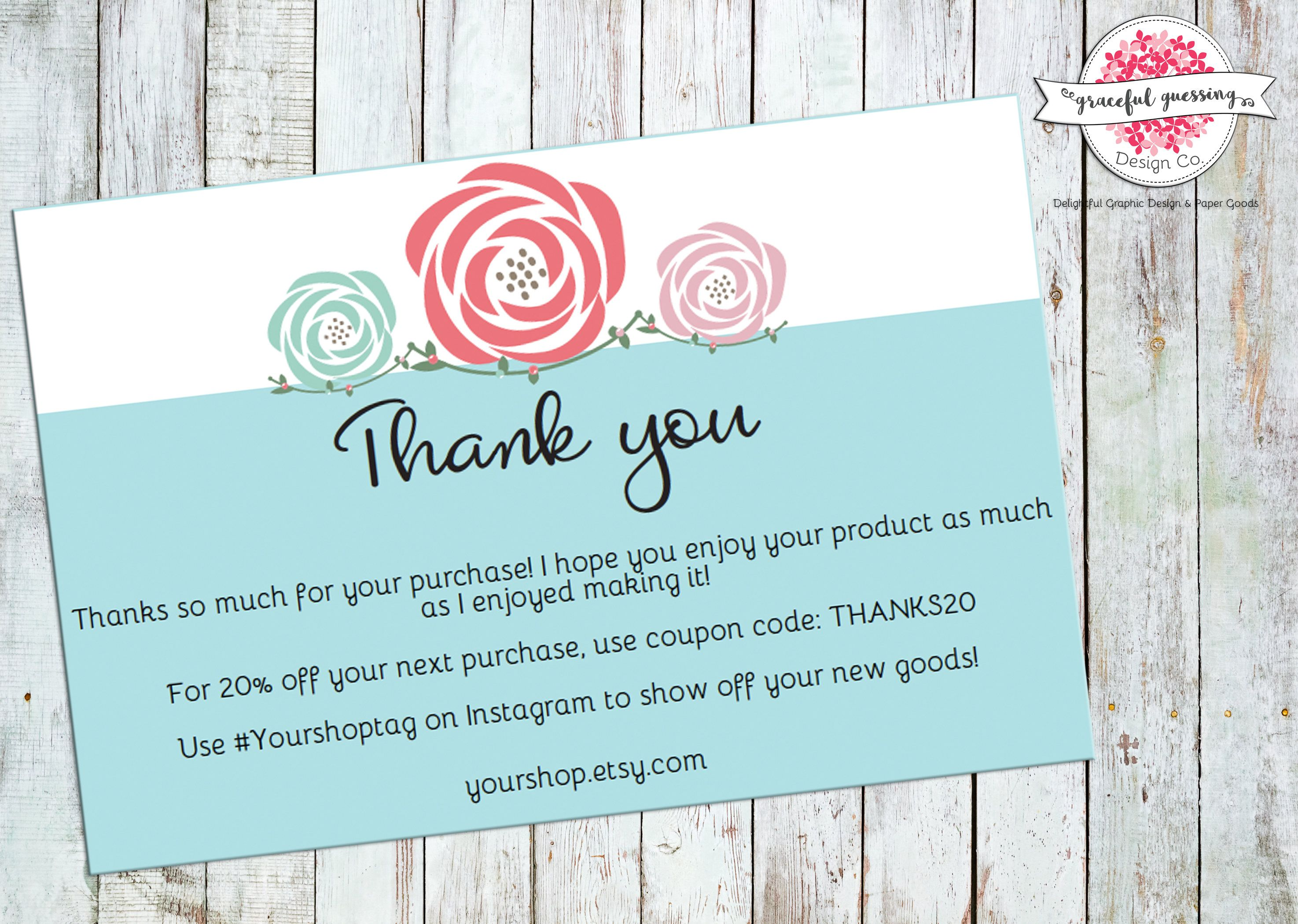 Order Thank You Cards Printable Etsy Shop Cards Package Insert Cards Small Business Thank You Cards Hand Lettering Cards Thanks Card Thank You Cards