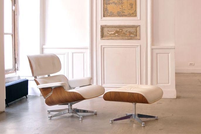 Fauteuil Lounge Blanc Location Fauteuil Design Charles Ray - Fauteuil lounge eames
