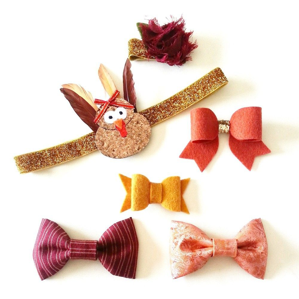 This gorgeous Monthly Accessory set is a fabulous way to get a handful of beautiful accessories at a discounted price.  This Set comes with Thelma the Turkey, 2 Fabric Bows, 2 Felt Bows and 1 Single flower.  These sets are available as headbands or clips.  This listing is a Pre Order Only.  Orders for this set will close at Midnight CT on October 3rd and will be shipped out by October 27th for you to enjoy the whole month of November.  Because this listing is already dis...